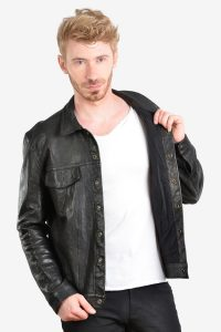 Men's vintage black leather bomber jacket