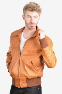 Vintage 1970's leather bomber jacket