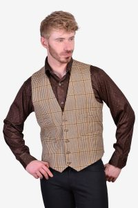 Vintage dogtooth tweed waistcoat