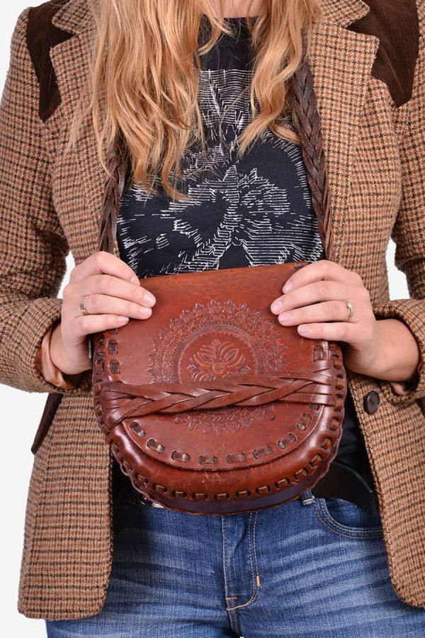 Vintage leather tooled saddle bag