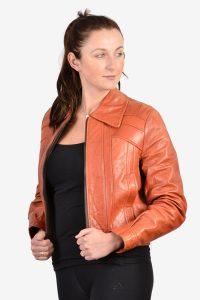 Vintage women's leather bomber jacket