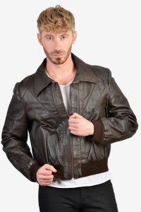 Vintage men's leather bomber jacket