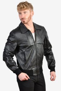 Retro 1970's leather bomber jacket
