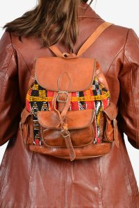 Vintage leather Aztec rucksack