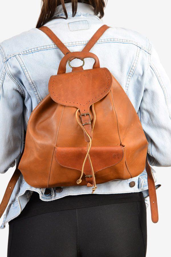 Vintage 1970's leather rucksack