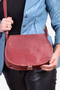 Vintage 1970's leather saddle bag