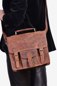 Vintage Scaramanga leather satchel bag