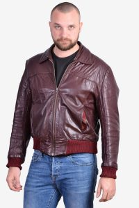 Vintage burgundy leather bomber jacket