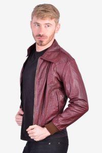 Vintage burgundy leather bomber jacket