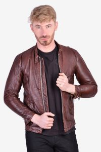 Men's 1970's leather motorcycle jacket