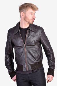 Men's vintage brown leather bomber jacket
