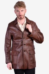 Vintage leather safari jacket