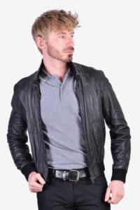 Men's vintage black leather bomber jacket