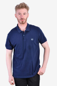 Vintage Fred Perry navy blue polo shirt
