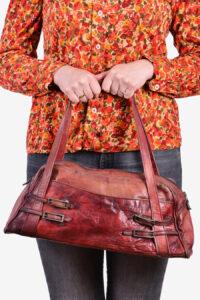 Vintage red leather handbag