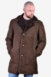 Vintage dark brown sheepskin coat