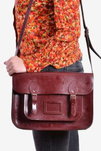 Vintage leather school satchel