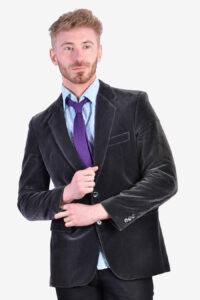 Vintage 1970's grey velvet jacket