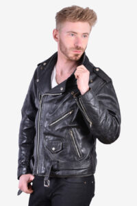 Vintage men's leather biker jacket