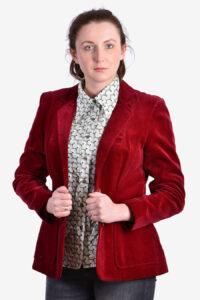 Women's vintage red velvet jacket.