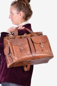 Vintage leather overnight bag