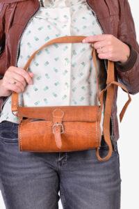 Vintage leather barrel bag