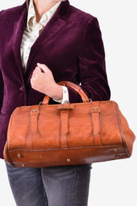 Vintage small leather holdall bag