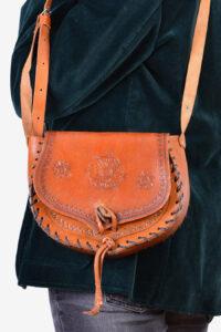 Vintage 1970's tooled leather shoulder bag