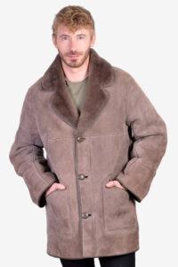 Vintage grey sheepskin coat