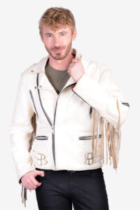 Vintage leather fringed biker jacket