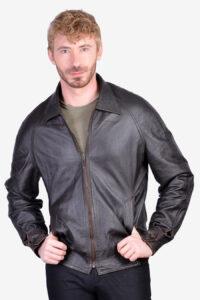 Vintage 1970's brown leather bomber jacket