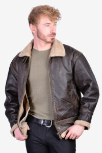 Vintage B3 type brown leather flight jacket