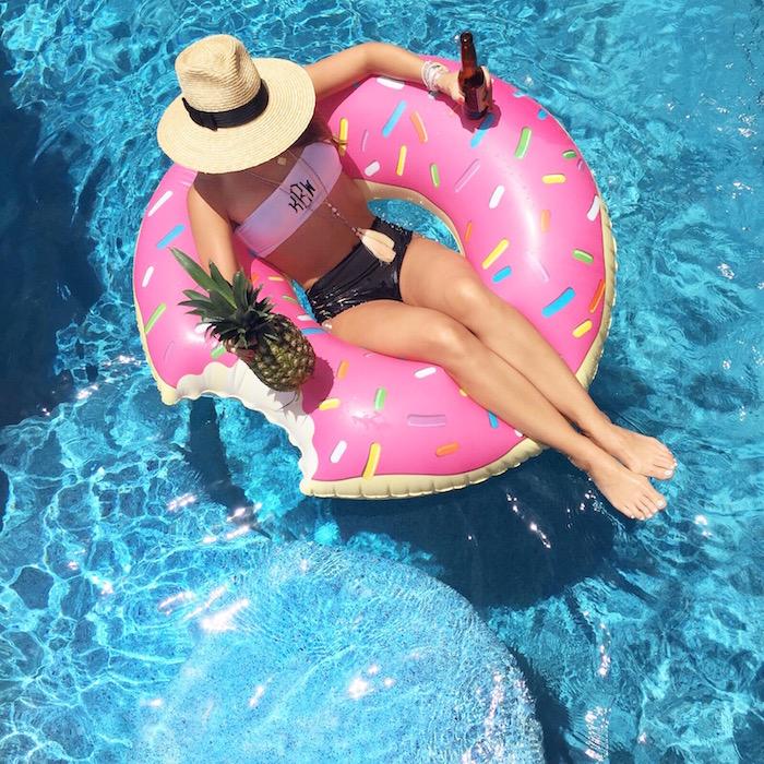 pink sprinkled donut float