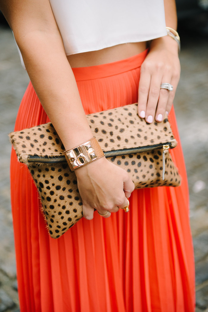 calfhair spotted foldover clutch