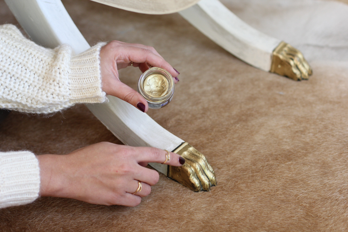 gold leafing metal furniture feet