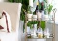 candles on a bar cart