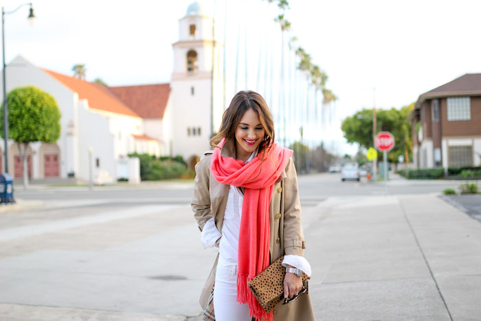coral cashmere scarf