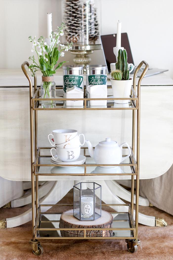gold tiered bar cart