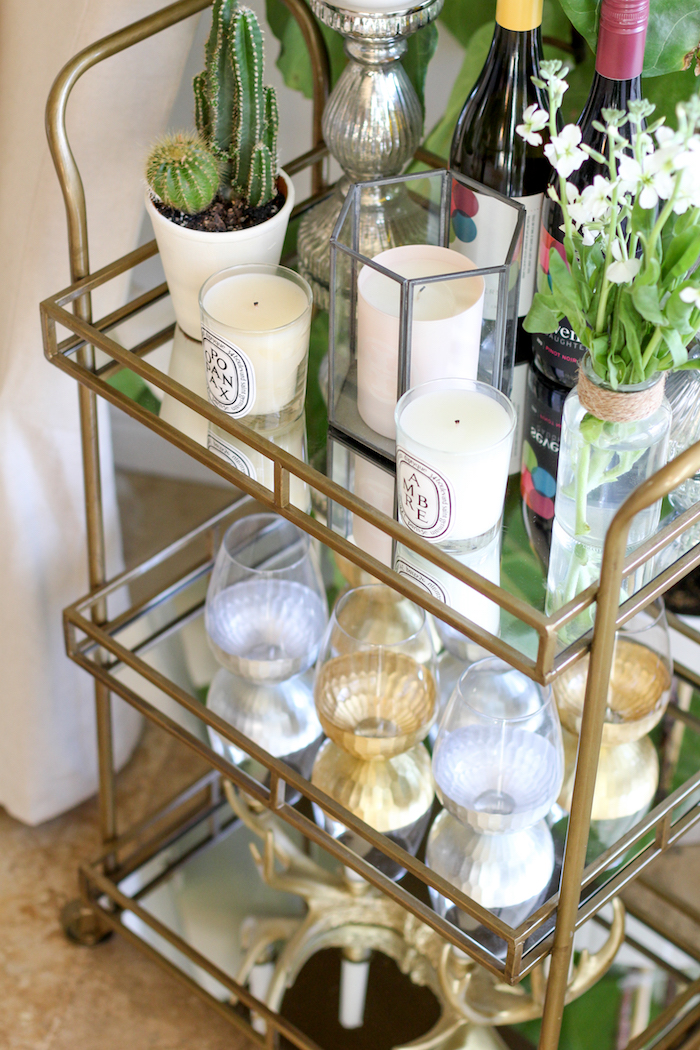 unique ways to style a bar cart