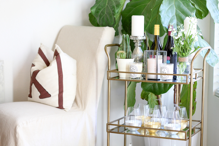 different ways to style a bar cart