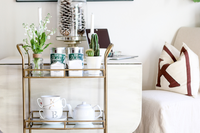 styling a bar cart into a coffee cart