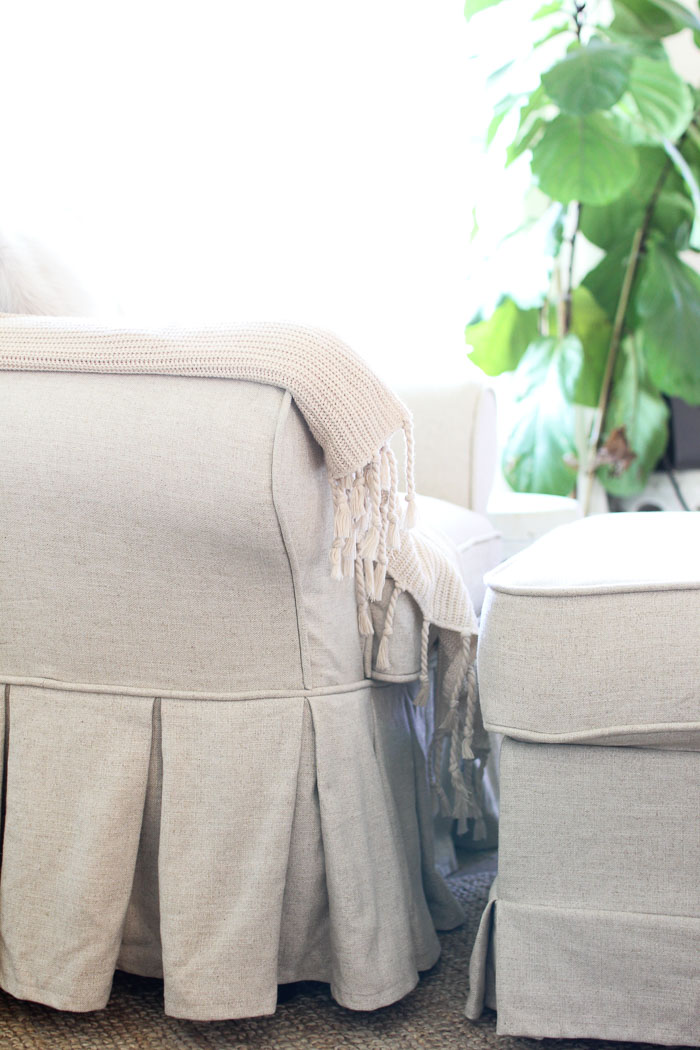pleated slipcovered chair
