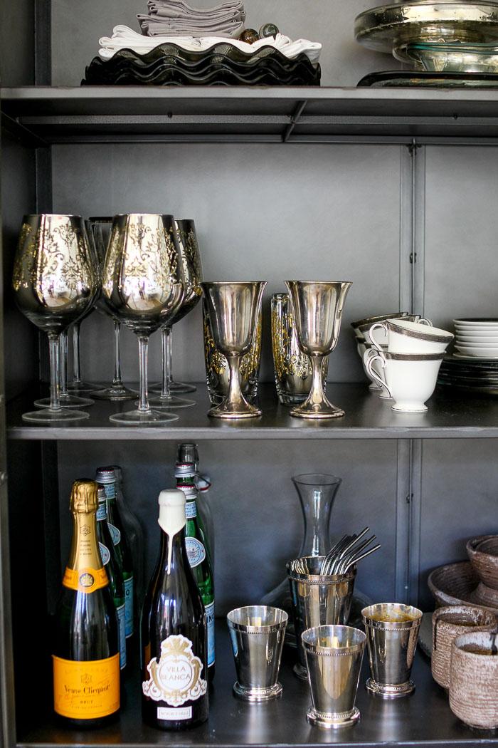 silver wine glasses