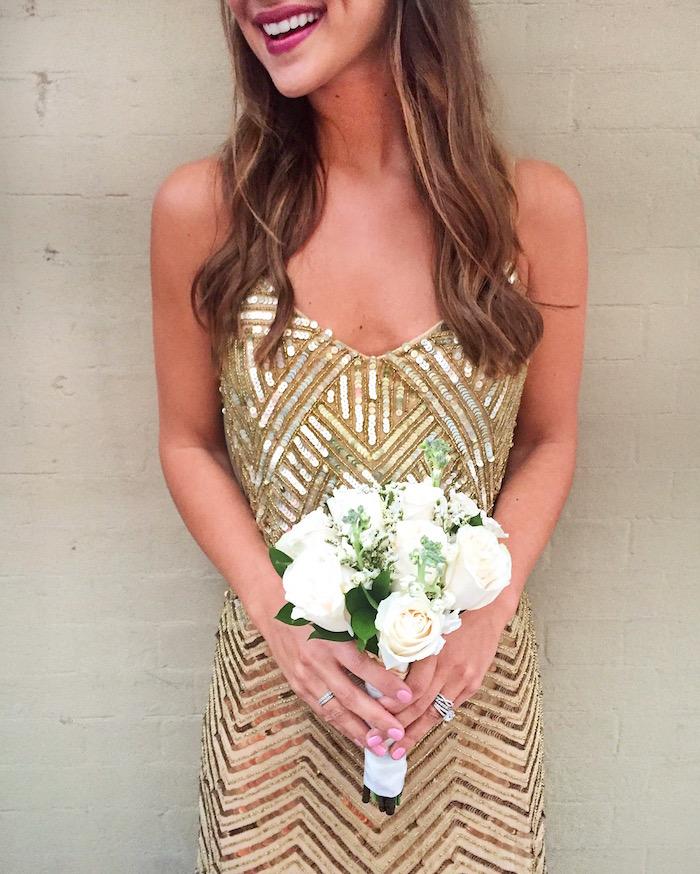 gold adrianna papell dress