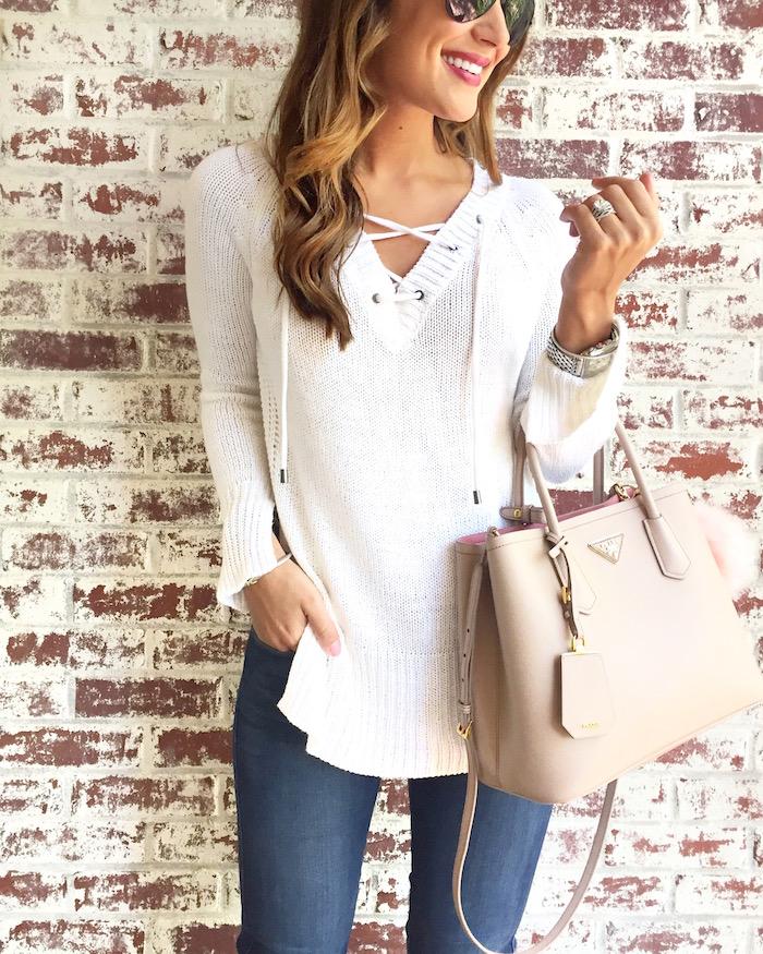 white lace up tunic