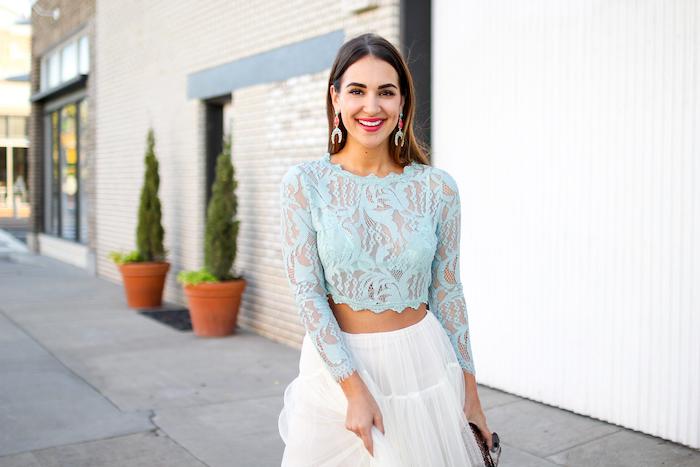 mint lace crop top
