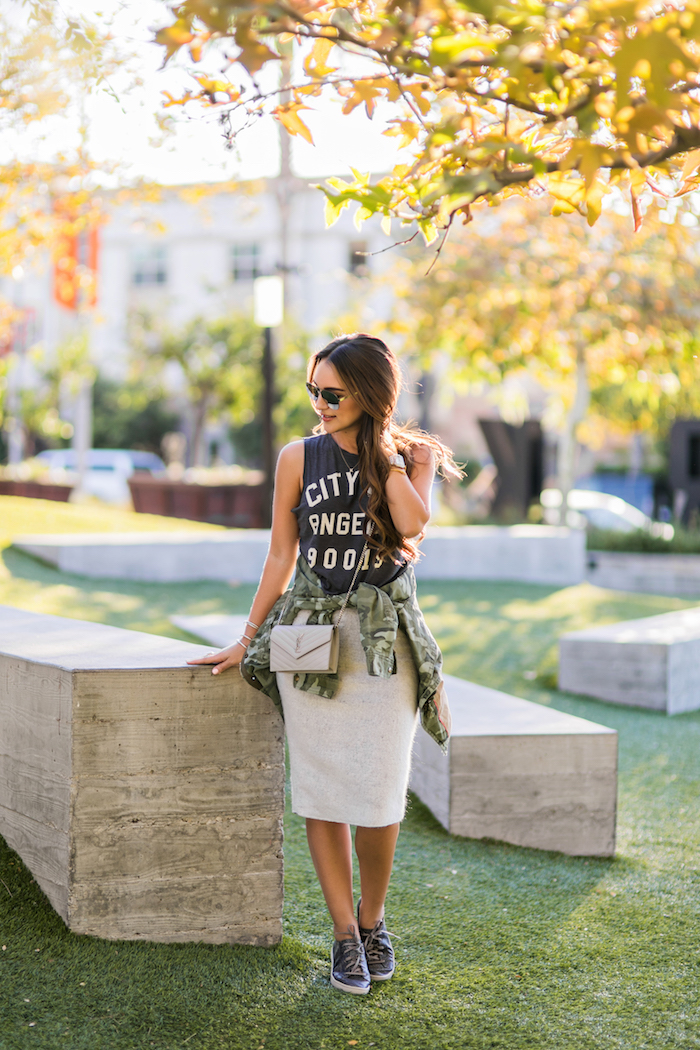 styling sneakers with skirts