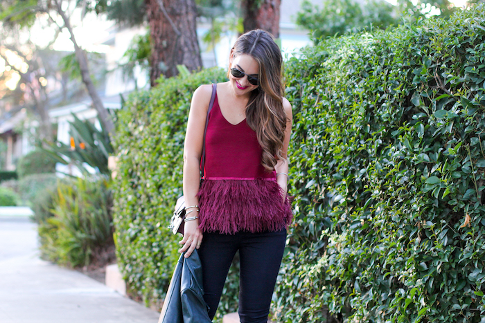 burgundy feather top