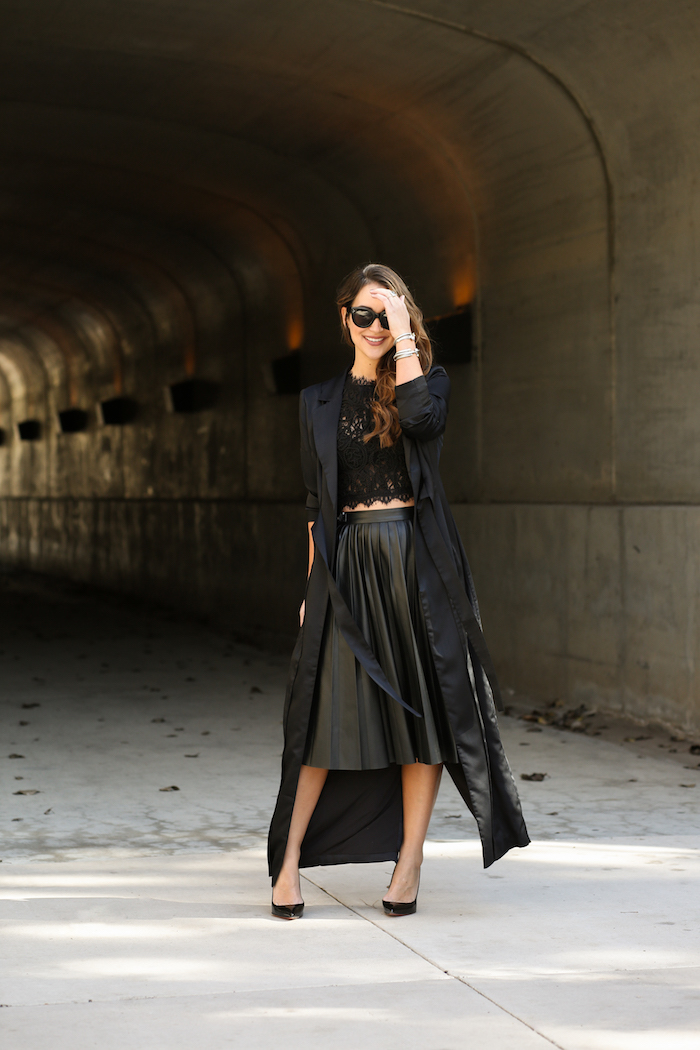 styling a black midi skirt