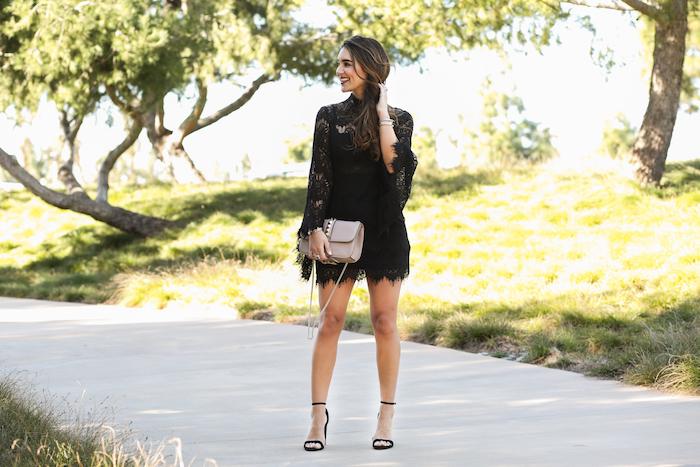 black bell sleeved dress
